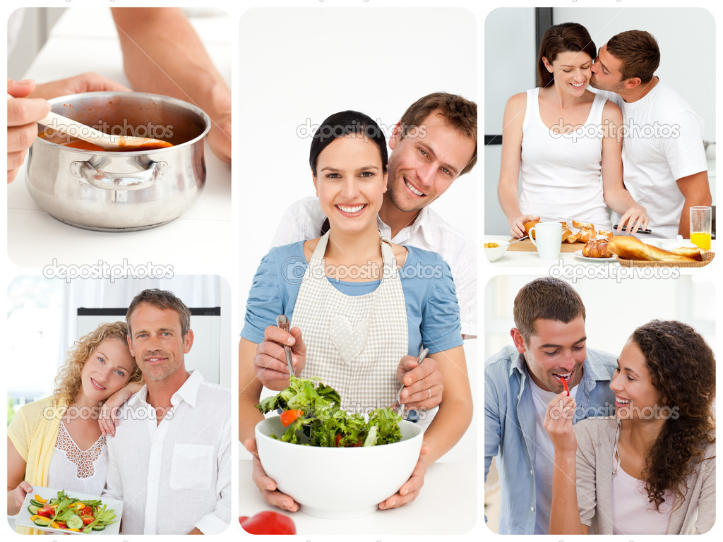 Collage of young couples in the kitchen — Stock Photo #10580209