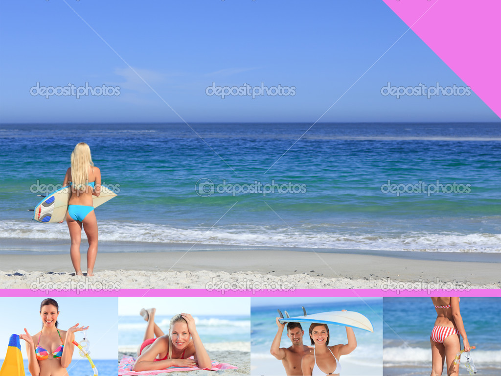 Montage of attractive woman on the beach — Stock Photo #10580556