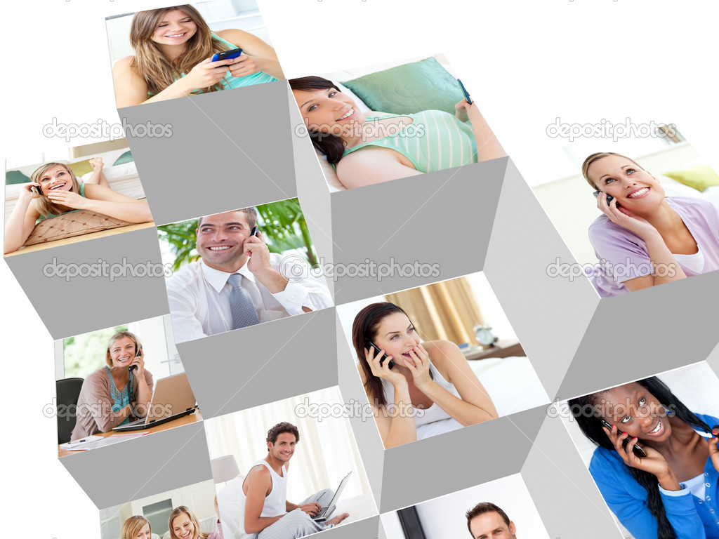 Collage of talking on the phone at home and at the office — Stock Photo #10580674