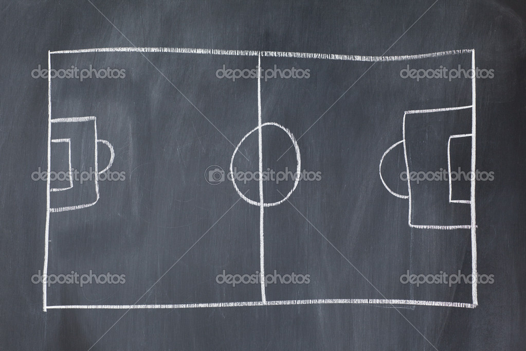 Empty soccer field on a blackboard — Stock Photo #10581259
