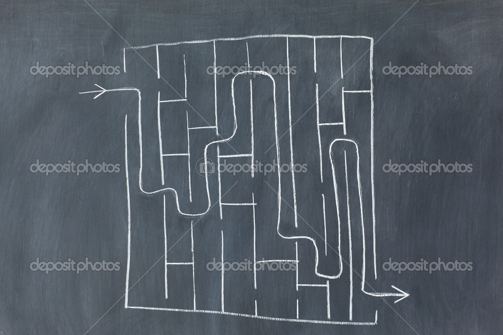 Labyrinth on a blackboard — Stock Photo #10581650