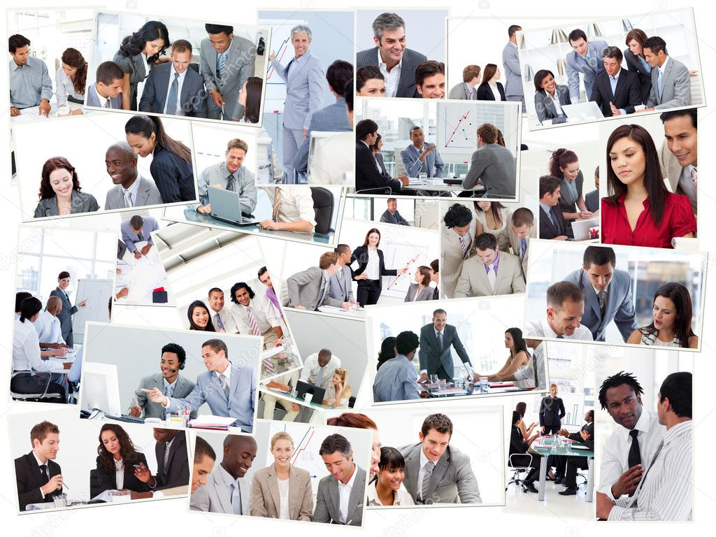 Collage of businessmen in meetings  Stock Photo #10586285