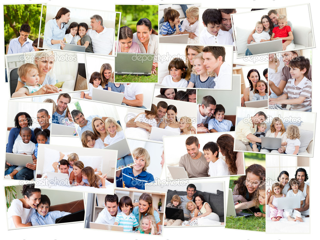 Collage of families surfing on their laptop at home and outdoors — Stock Photo #10588842