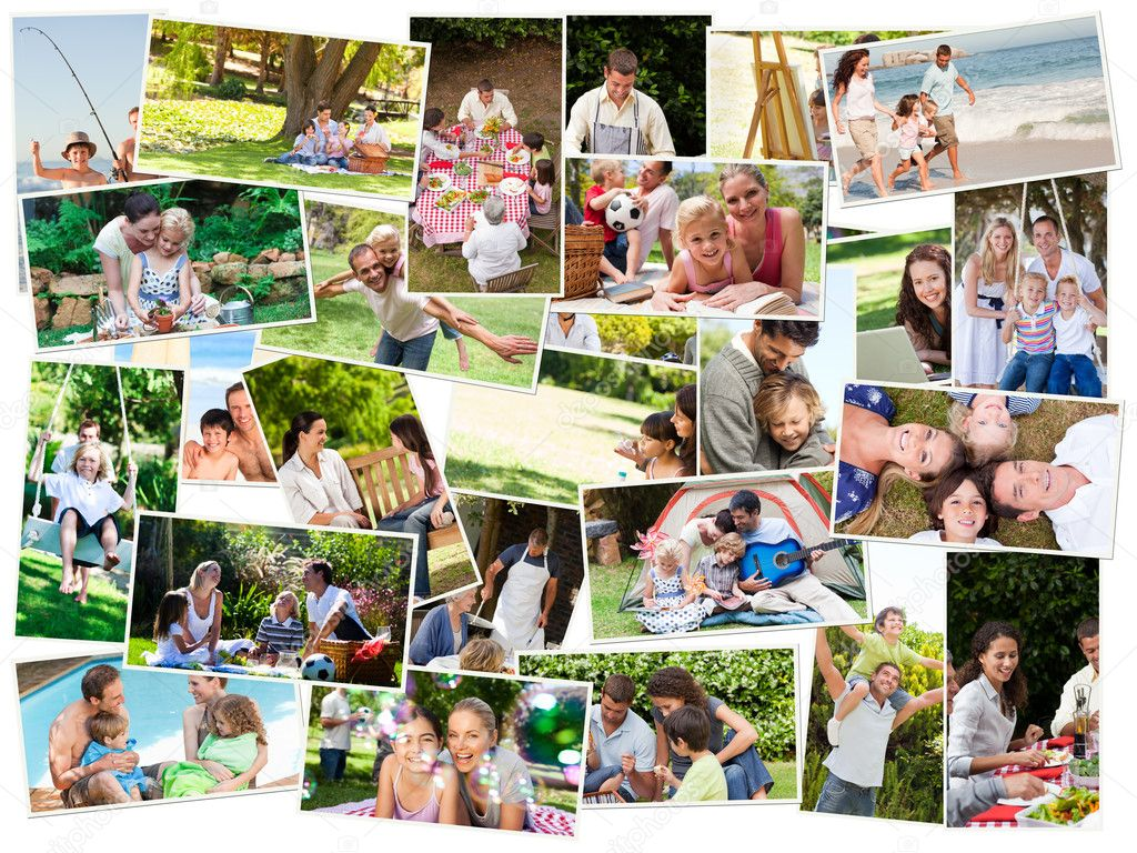 Collage of cute families having fun outdoors — Stock Photo #10588889