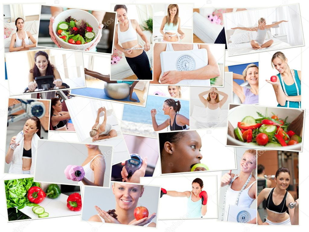 Collage of photos illustrating healthy lifestyles stock image