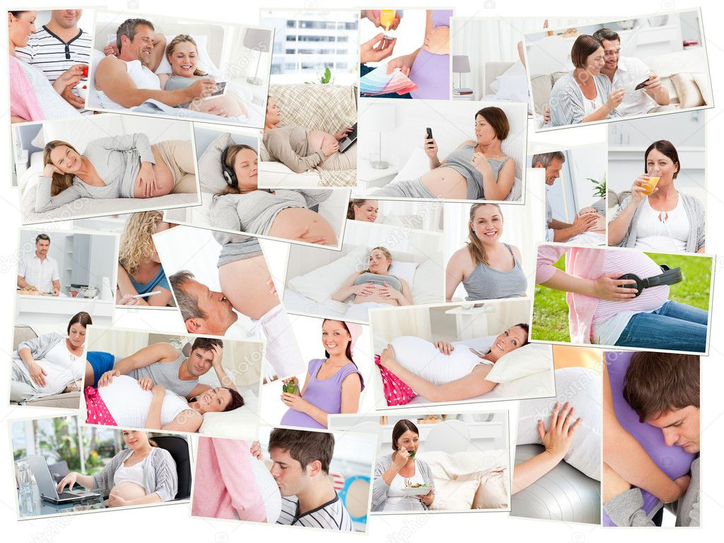 Collage of pregnant women at home — Stock Photo #10589021