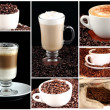 Collage of cups of coffee - Stock Photo
