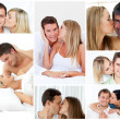Collage of lovely couples embracing - 