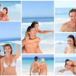 Collage of lovely couples having fun on a beach - Stock Photo