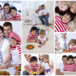 Collage of a family enjoying moments together — Stock Photo