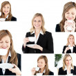 Royalty-Free Stock Photo: Collage of two blonde women enjoying some coffee