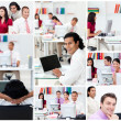 Collage of business at work — Stock Photo