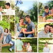 Collage of lovely couples enjoying a moment together in a park — Stock Photo