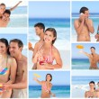 Stock Photo: Collage of lovely couples enjoying moment together on beach