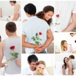 Stock Photo: Collage of lovely couples enjoying moment