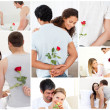 Collage of lovely couples enjoying the moment — Stock Photo