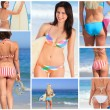 Bright collage made of seven women pictures on the beach — Stock Photo