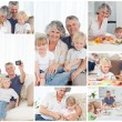 Collage of a family enjoying different moments together at home - Stock Photo