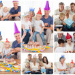Collage of families enjoying celebration moments together at hom - Stock Photo