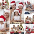 Stock Photo: Collage of families enjoying celebration moments together at hom