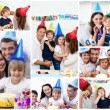 Collage of families celebrating a birthday together at home — Stock Photo