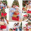 Collage of families celebrating Christmas together at home — Photo