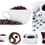 kawa kolaż i ying yang symbol — Zdjęcie stockowe