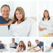 Collage a lovely couple enjoying moments together at home — Stock Photo #10591691