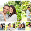 Collage of a lovely couple enjoying a moment together in a park - Photo