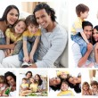 Collage of a family enjoying moments together at home — Foto de Stock
