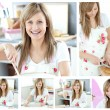Collage of a beautiful woman cooking at home - Stock Photo