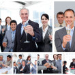 Collage of business celebrating success with champagne - Stock Photo