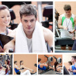 Collage of a couple doing exercises at a gym — Stock Photo