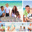 Royalty-Free Stock Photo: Collage of family members on a beach