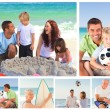 Collage of family members on a beach — Stock Photo #10591793