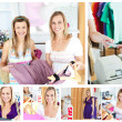 Collage of two attractive women doing shopping — Stock Photo