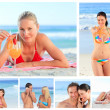 Collage of lovely couples and attractive women on a beach — Stock Photo