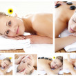 Collage of an attractive young girl being massaged — Stock Photo