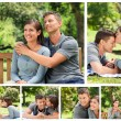 Collage of a lovely couple enjoying moments together in a park — Stock Photo