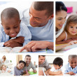 Stock Photo: Collage of parents educating children at home