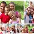Collage of a family enjoying moments together in a park — Stok fotoğraf