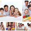 Stock Photo: Collage of family spending time together at home