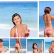 Collage of an attractive brunette woman enjoying the moment on a — Stock Photo