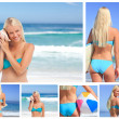Collage of an attractive blonde woman posing on a beach — Stock Photo