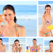 Collage of a pretty brunette woman enjoying the moment on a beac — Stock Photo