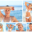 Collage of a beautiful blonde woman posing on a beach — Stock Photo