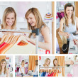 Collage of two good looking women doing shopping — Stock Photo