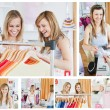 Stock Photo: Collage of two good looking women doing shopping
