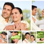 Collage von einem Liebhaber genießen einen Moment zusammen, in einem park — Stockfoto