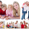 Collage of a family spending time together at home — Stock Photo #10592098